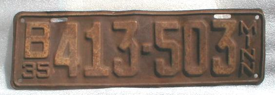 1935 Minnesota License Plate