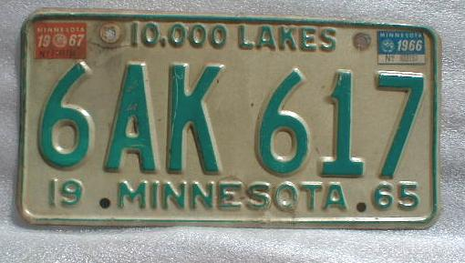 1965 Minnesota License Plate