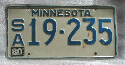 1980 Minnesota License Plate