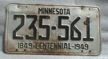 1849 - 1949 Centennial Minnesota License Plate