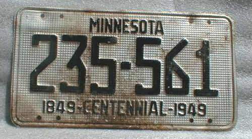 1849 - 1949 Centennial Minnesota License Plate