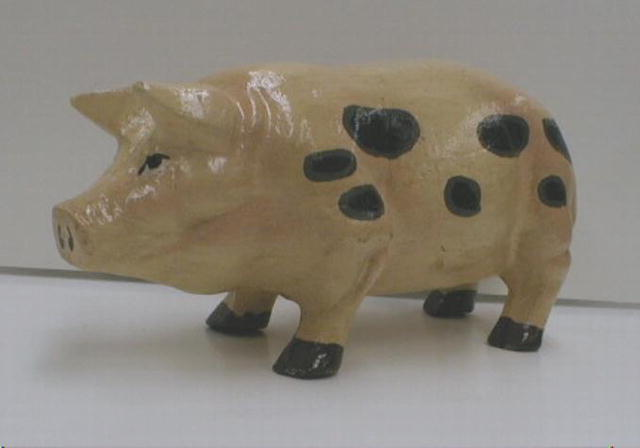 CAST IRON Painted Pig - Cute!