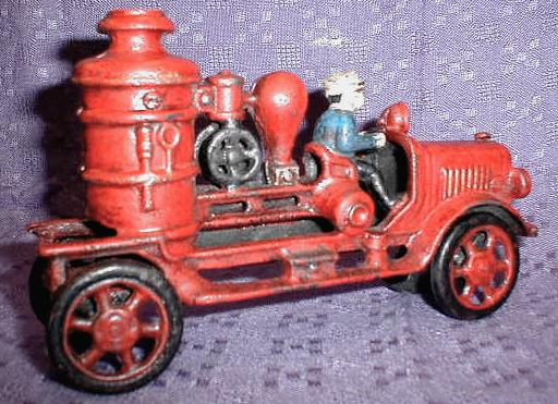1920's Style CAST IRON Fire Pumper Toy Truck