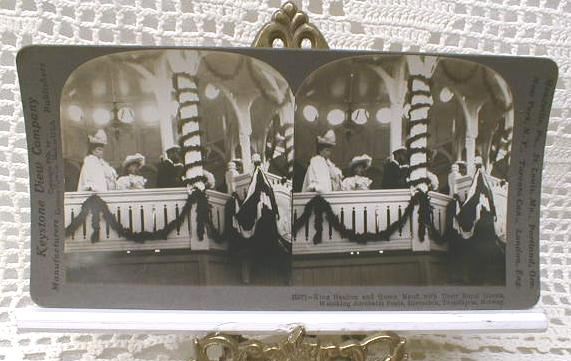Stereoview Card - King Haakon & Queen Maud, Trondhjem, Norway