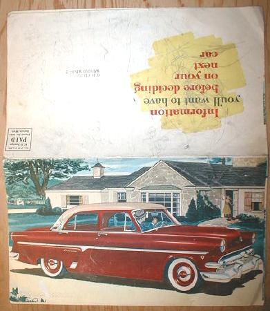 Red 1954 FORD Sales Brochure Mailer