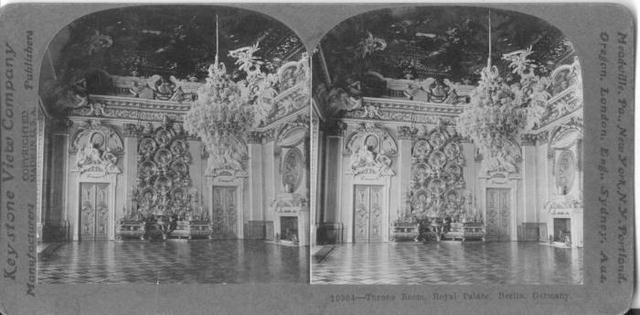 Stereoview Card - Royal Palace Throne Room, Berlin, Germany