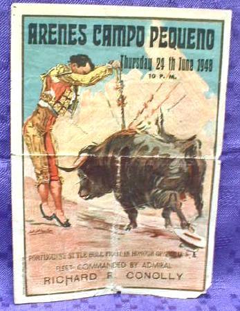 OLD PROGRAM Portuguese Style BULLFIGHT - June 1948