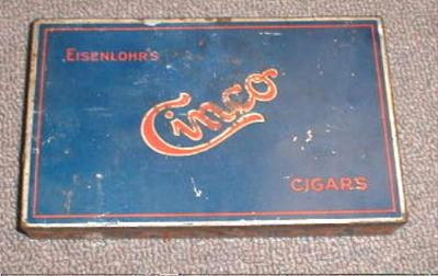 OLD! Eisenlohr's Cinco Cigar Tin Box - RARE