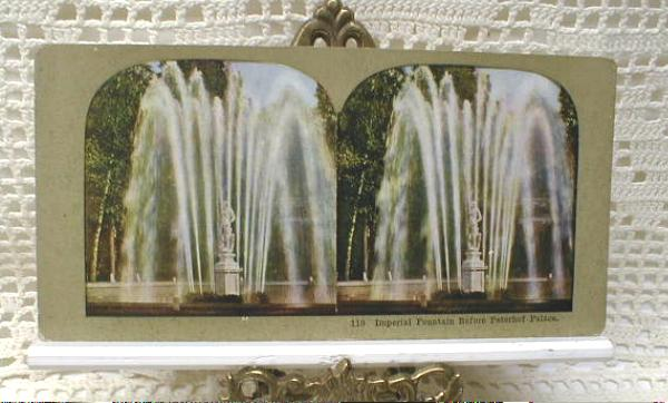 Stereoview Card - Imperial Fountain, Peterhof Palace