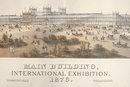Original Lithograph Of The Phila. Centennial Exhibition