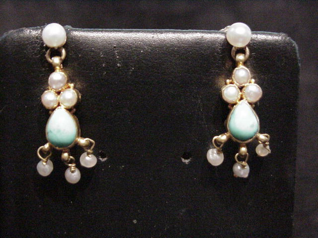 Victorian Fringe Tourquoise and Pearl Earrings