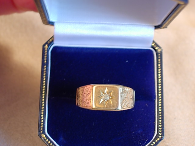 Attractive C. 1900 Diamond and 18kt Yellow Gold