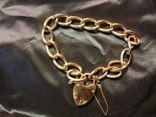 Sweet 9kt Yellow Gold Curblink Heart Lock