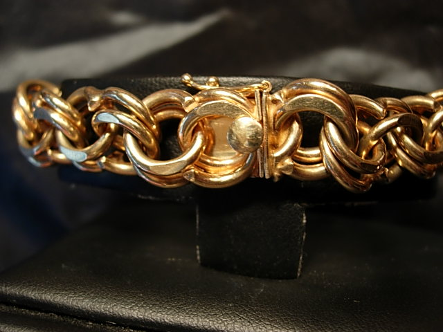 Heavy 14Kt Yellow Gold Double Curblink Bracelet