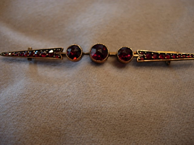 Turn of the Century Garnet Bar Pin