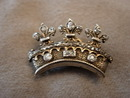 Victorian  Diamond and Silver Gilt Crown Brooch