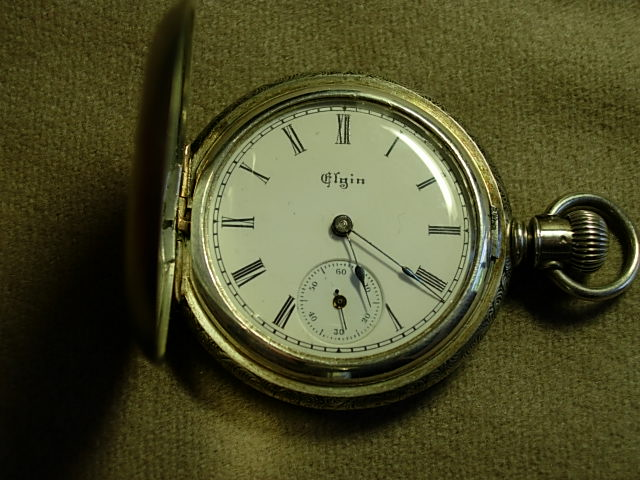 Elgin Silver Victorian Lapel Watch