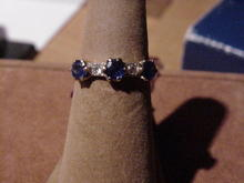 Victorian Sapphire and Diamond Half Hoop Ring