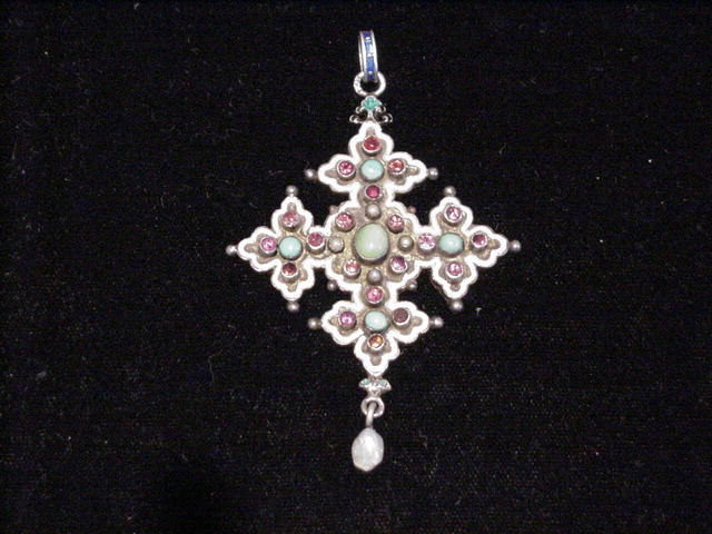 C. 1800s Silver, Enamel and Multi-Gem Pendant