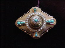 English Turquoise, Pearl & YG Brooch