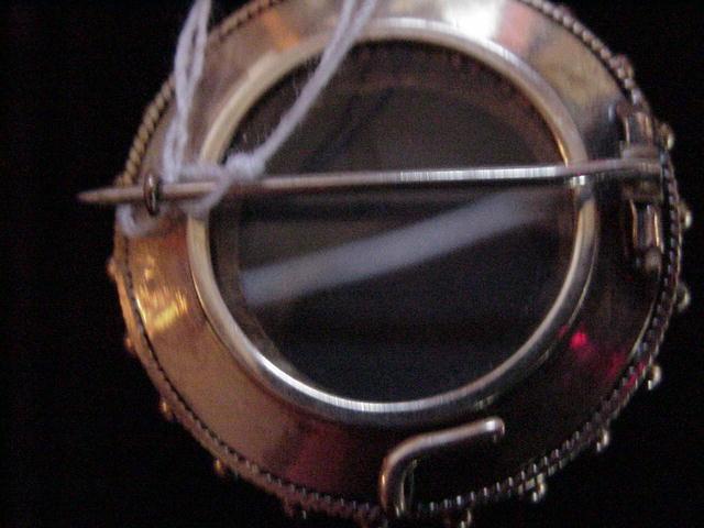Victorian Enamel & Striped Agate Brooch/Locket