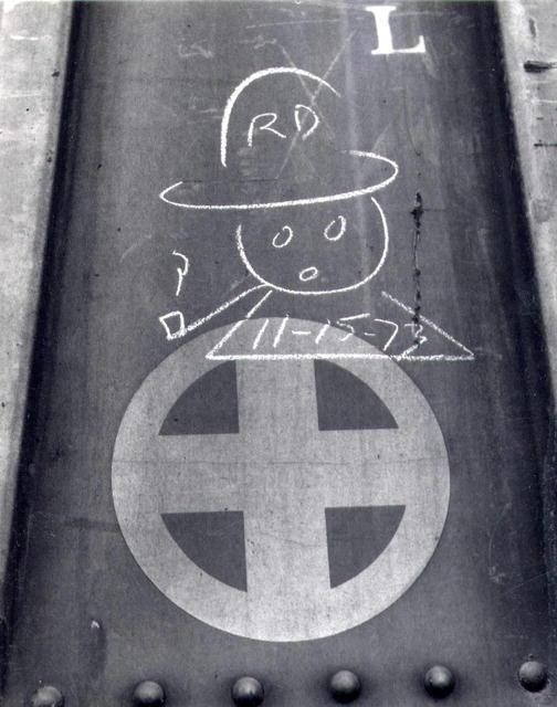 Don Longanecker: Chalk Graffiti #6 (head with pipe)