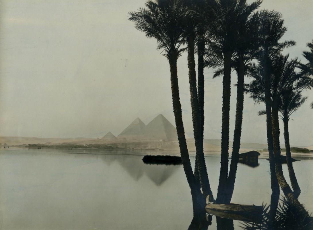 Pyramids at Gizeh Egypt - hand-tinted
