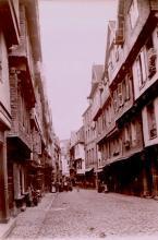 Street scene; probbly Rouen, France