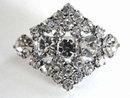 Vintage 1950s Crystal Rhinestone Brooch Pin Diamond Shape Prong Set