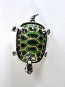 Sterling Turtle Pin Enamel Silver  Signed  So Sweet