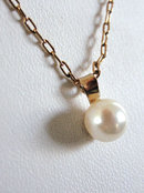 Signed Cultured Pearl Pendant Chain Vintage