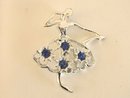 Ballerina Pin Signed Silver Tone Blue Rhinestones Vintage