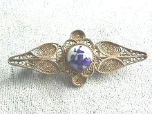 Delft Silver Filigree Pin, Signed