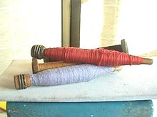 4 Yarn Spindles, Old wooden, w/Yarn
