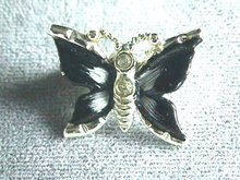 Enameled Butterfly Pin, Blk&Wht,Vintage