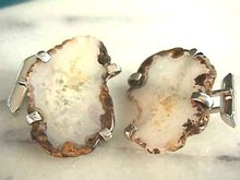 Agate Slice Cuff links w/ Pat. No.