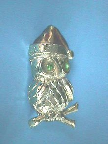Signed Christmas Owl Pin w/Santa Hat