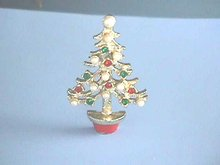 Christmas Tree Pin, Red,Grn,Tiny Pearls,Cute!