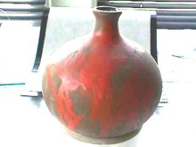 HURONIA POTTERIES Bulbous Vase Red Matte