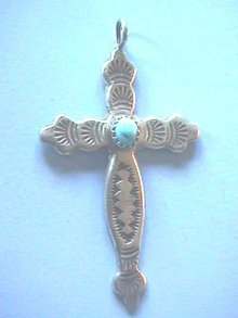 Silver Turquoise Cross, Etched,  Navajo, Nice!