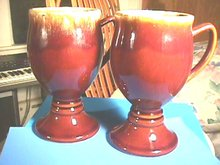 Hull Footed Goblets, Pair, Brown Drip, Coffee Mug