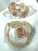 Vintage Sarah Coventry Set, Wild Honey,Glass,JC NR