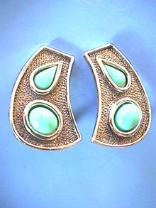 Silver,Turquoise Earrings, Faux,Pattinaed,Diffrnt!