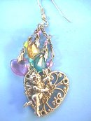 Cupid,Hearts Earrings,Filigree,Dif Colors,Prcd