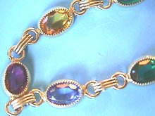Multi-Colored Stone Bracelet, G/F,Bezel Set