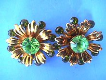 Green Retro Earrings, Light/Dark Hued, Sweet