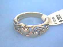 Double Heart Ring, Antiqued Gold Look, Size 9