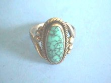 Turquoise,Sterling Ring,Signed,sz 5, Matrix