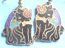 Cloisonne Cat Earrings, Prcd,Fancy,Bow,Flower