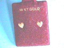 Gold Heart Earrings 14K Tiny Pierced Posts Nice!